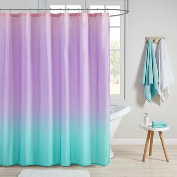 Glimmer Ombre Printed Glitter Shower Curtain