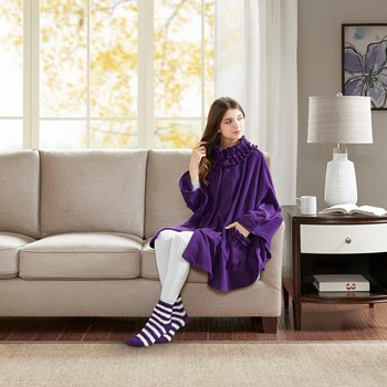 Ruffle Trim Fleece Angel Wrap with Sock Set