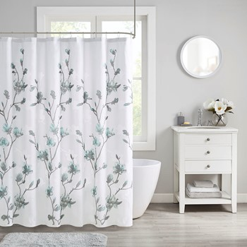 Magnolia Floral Printed Burnout Shower Curtain