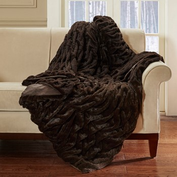 Lifestyle Ruched Fur Oversized Throw