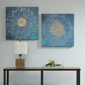 Iridescent Bloom Gel Coated Canvas with Gold Foil (2pcs/set)