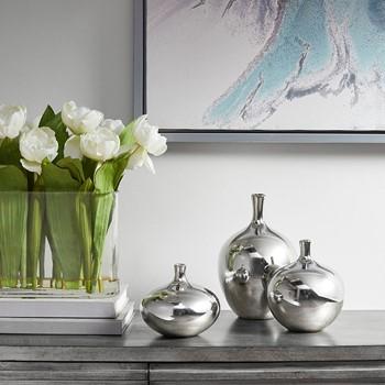 Ansen Metallic 3PC Vase Set