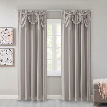 Vivian 100% Total Blackout Panel with Attached Bow Tie Valance