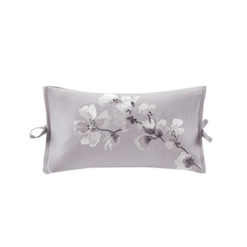 Sakura Blossom Embroidered Cotton Oblong Decorative Pillow
