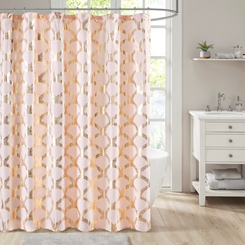 Lorna Metallic Scallop Shower Curtain