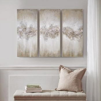 Taupe Luminous Hand Painted Canvas