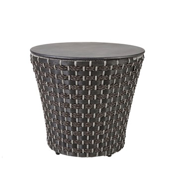 Maple Outdoor Resin Wicker Basketweave Style  Drum Table
