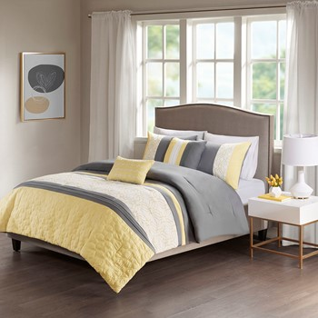 Donnell Embroidered 5 Piece Comforter Set