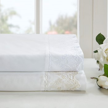 Floral Eyelet Embroidered Sheet Set
