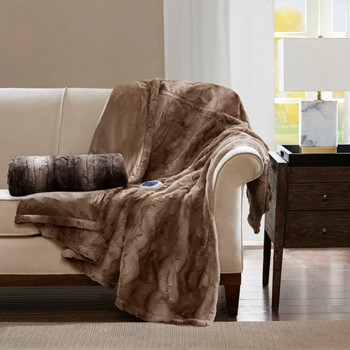 Zuri Oversized Faux Fur Heated Throw