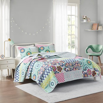 Sunny Printed Reversible Cotton Coverlet Set