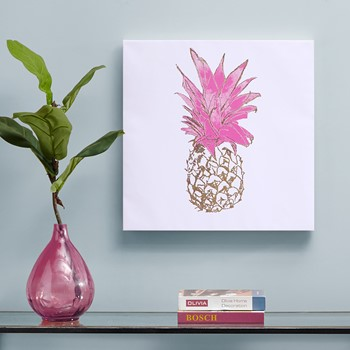 Gold Pineapple Gold Foil Embellished Canvas