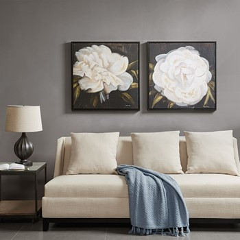 White Camellia Gel Coat Canvas With Bronze Frame (2 Piece Set)