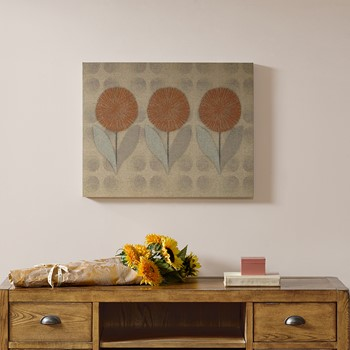 Mid Mod Orange Flowers Print on Linen Canvas