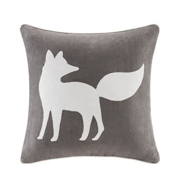Fox Embroidered Suede Square Pillow Square Pillow