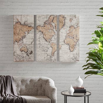 Map of the World Printed Canvas with 30% Hand Brush Embellishment Set of 3