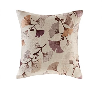 Gingko Bloom Linen Embroidered Square Pillow