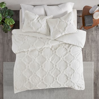 Pacey 3 Piece Tufted Cotton Chenille Geometric Duvet Cover Set