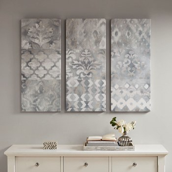 Watercolor Ikat Taupe Gel Coat Canvas 3 Piece Set