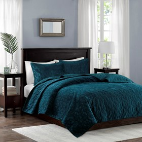 Harper Faux Velvet Reversible 3 Piece Coverlet Set