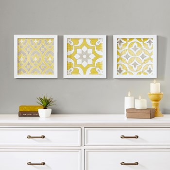 Tuscan Tiles Framed Gel Coated Paper Set of 3