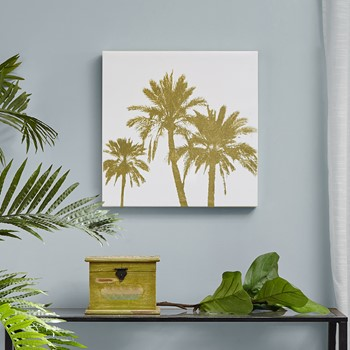 Gold Palms Gold Foil Embellished Canvas