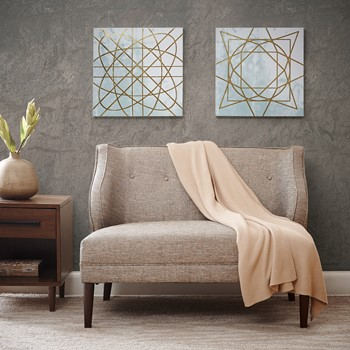 Arctic Geometric Printed Canvas with Gold Foil Embellishment 2PCS Set