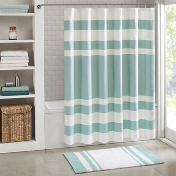 spa waffle shower curtain with 3m treatment - Bathroom Designs With Shower Curtains