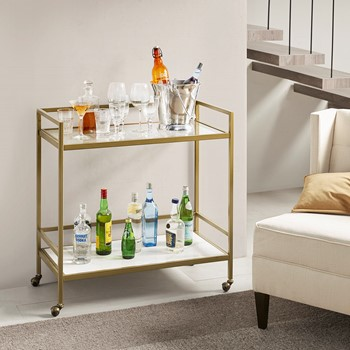 Lionel Two Tier Bar Cart on Wheels