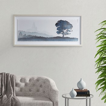 Serene Silhouette Glass Framed Scenery Graphic with Single Floating Mat