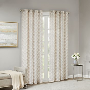 Nadal Leaf Embroidered Grommet Sheer Window Curtain