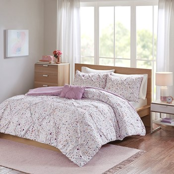 Abby Metallic Printed and Pintucked Duvet Cover Set