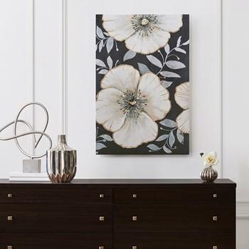 Opulence Bloom Gold Foil Floral Canvas Art Hand Embellished