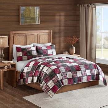 Tulsa Oversized Plaid Print Cotton Quilt Set