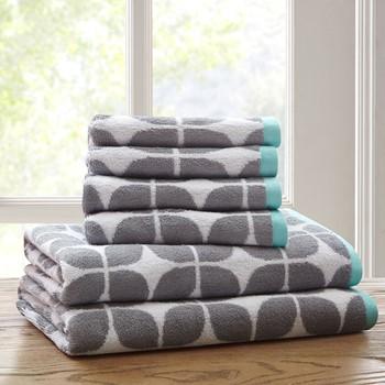 Lita 6 Piece Cotton Jacquard Towel Set