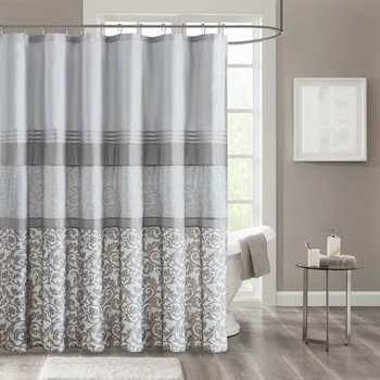 Ramsey Printed and Embroidered Shower Curtain with Liner