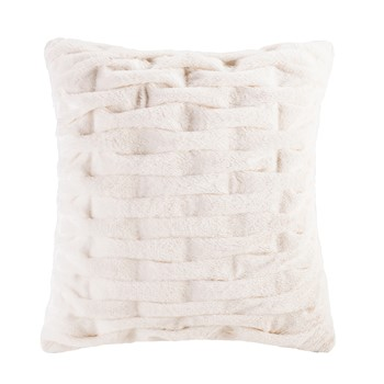 Ruched Fur Square Pillow