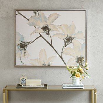White Lilies Canvas Art with Frame