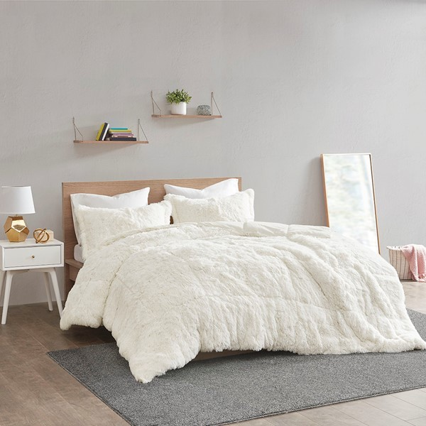 Malea Shaggy Faux Fur Comforter Set By Intelligent Design