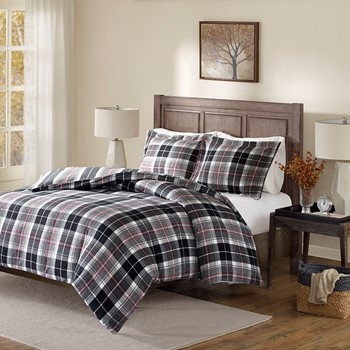 Caden Cotton Yarn Dyed Flannel Reversible Comforter Set