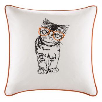 Artemis Cat Embroidered Cotton Square Pillow