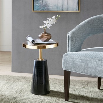 Sophia Round Pedestal Accent Side Table with Metal Base
