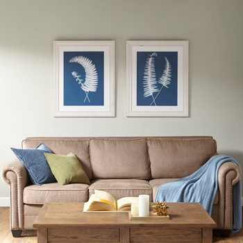 Embroidered Fern Framed with Natural Tone Solid Wood Frame 2PC Set