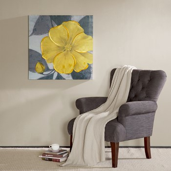 yellow bloom hand embellished canvas - Wall Art Designer