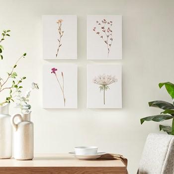 Petite Floral Printed Linen Oblong Canvas 4 Piece Set