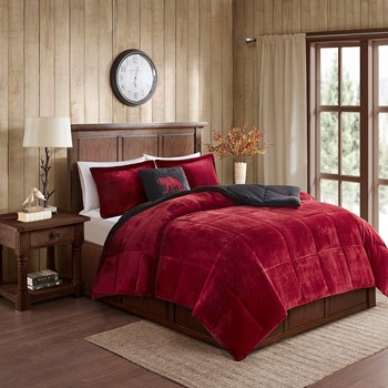 Alton Plush to Sherpa Down Alternative Comforter Set
