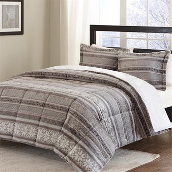 Print Microlight to Long Fur Comforter Mini Set