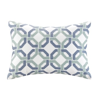 Concord Cotton Embroidered Oblong Pillow