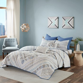Rochelle 7 Piece Cotton Reversible Coverlet Set