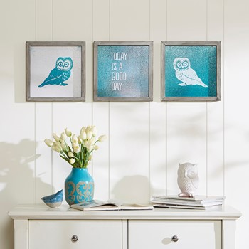 Wise As An Owl Framed Gel Coat 3 Piece Set